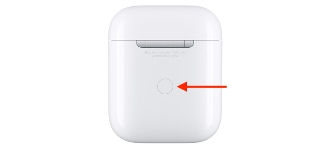 AirPods case with Setup button highlighted