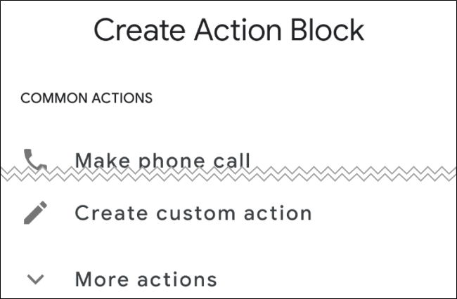 Android Action Blocks Create Action Block Screen
