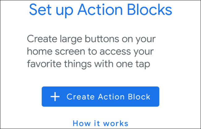 Android Action Blocks Set Up Screen