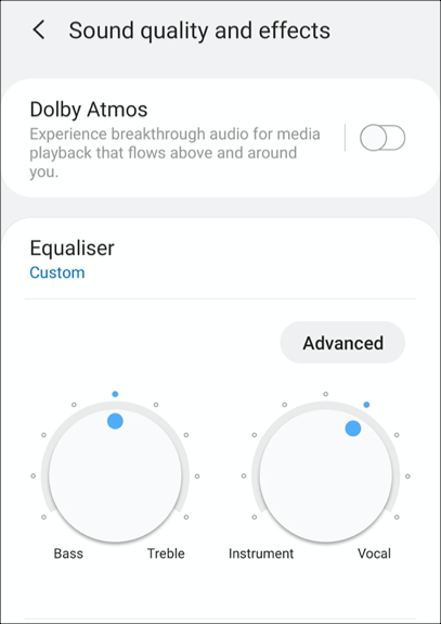 The equalizer settings on a Samsung Galaxy S9 on Android 10