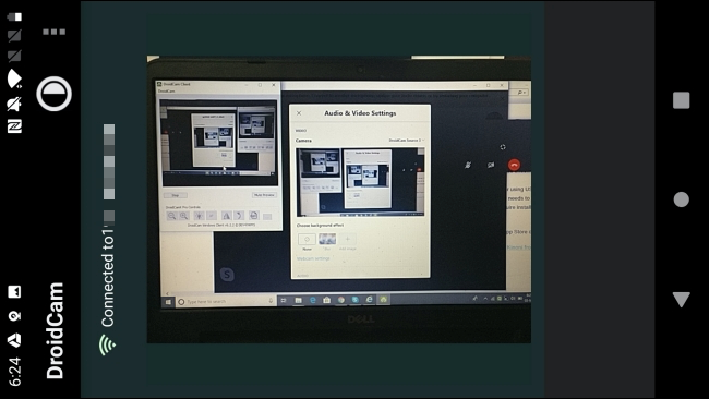 An Android phone being used as webcam on Windows 10 in the DroidCam app.