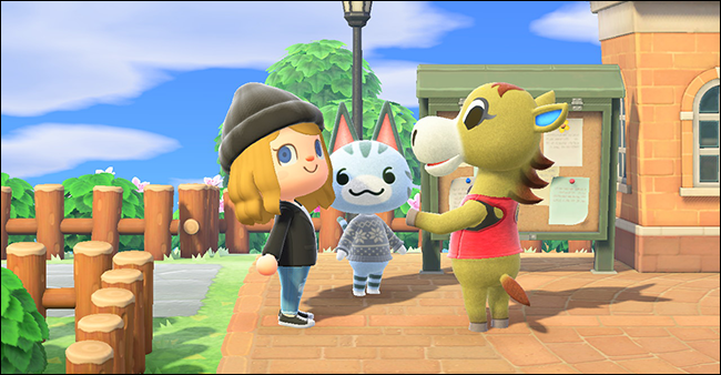 "Three characters in ""Animal Crossing: New Horizons."""