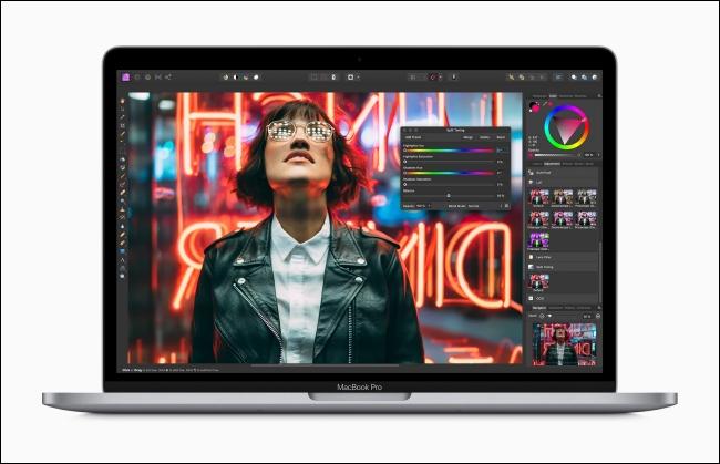 Apple MacBook Pro showing image editing app