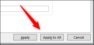"""Click """"Apply to All"""" to add your content to all slides in your presentation."""