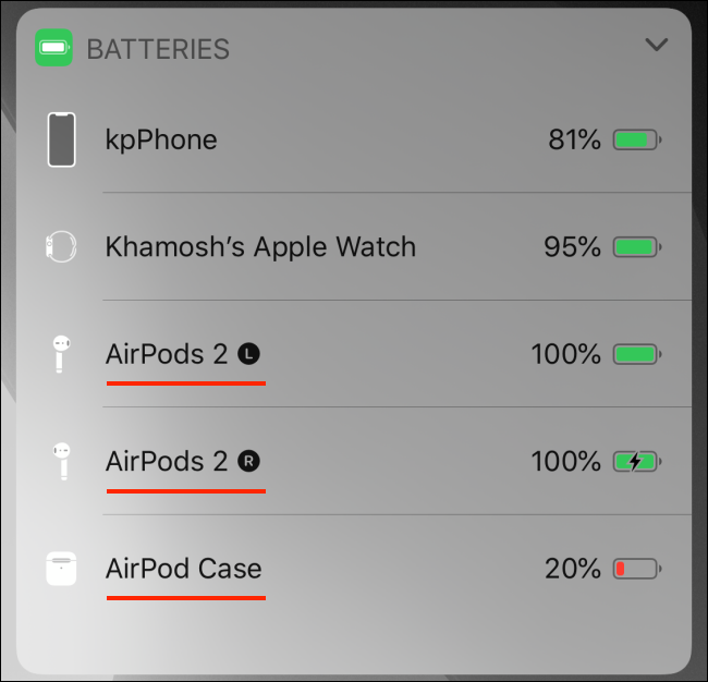 Batteries widget showing AirPods battery on iPhone