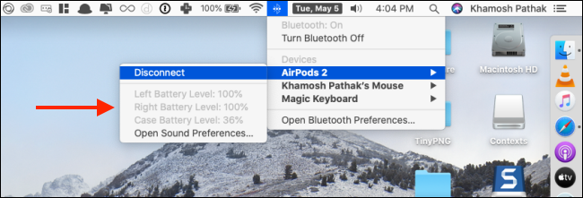 Checking AirPods Battery life on Mac
