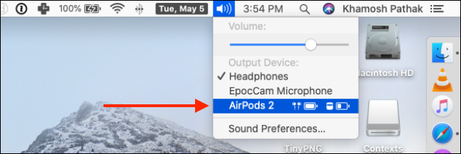 Choose your AirPods from Volume Control