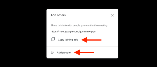 Click Copy Joining info