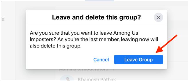 Haga clic en Abandonar grupo para eliminar el grupo de Facebook