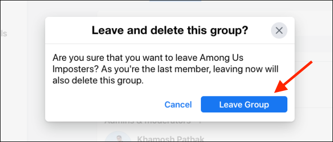 Click Leave Group to Delete Facebook Group