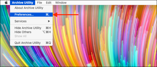 Click Preferences from Archive Utility menu