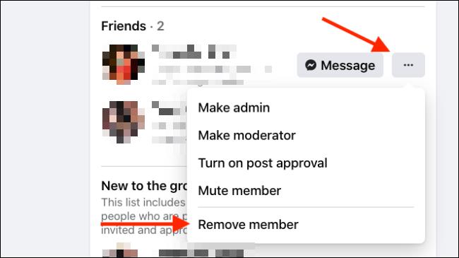 Haga clic en Eliminar miembro del menú Miembro