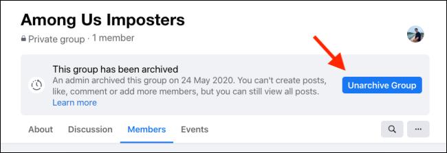 Haga clic en Desarchivar grupo para restaurar el grupo de Facebook