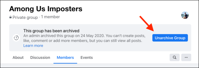 Click Unarchive Group to restore the Facebook Group