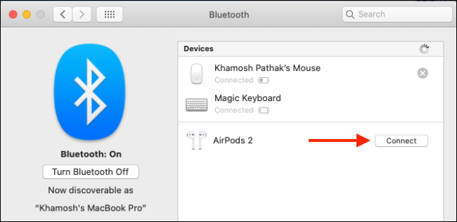 Click on Connect to pair AirPods with Mac