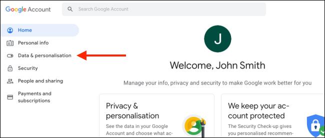"Click ""Data and Personalization."""