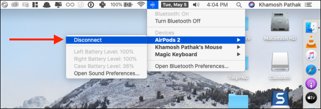 Click on Disconnect to from AirPods Bluetooth menu on Mac