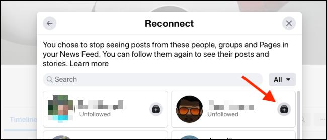 Click on Follow button to follow a Facebook user again