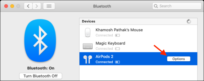 Click on Options to change AirPods settings