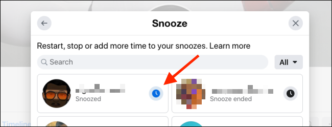 Click on Snooze button to disable temporary mute for the Facebook user