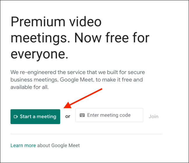 Click on Start a Meet on Google Meet