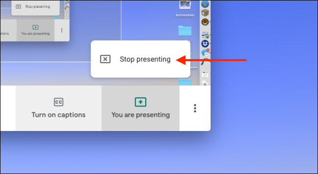 "Click ""Stop Presenting"" to stop sharing your screen."