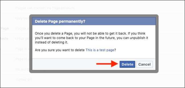 Click the Delete Button to Delete Your Facebook Page
