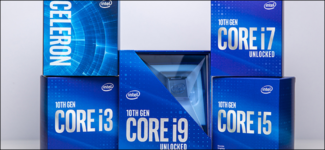 Five Intel 10th Gen Comet Lake packages.