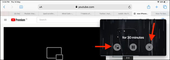 Controls on picture in picture window