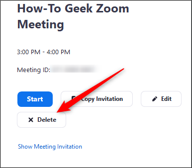 Delete button on meeting options