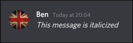 An italicized message in Discord