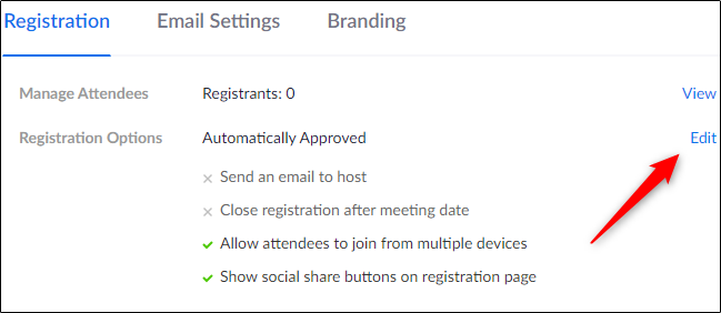 Edit button in registration options