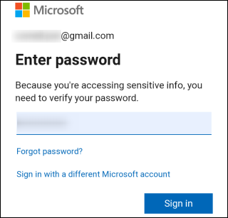 Log in to your Microsoft account.