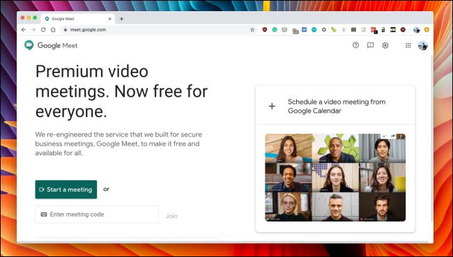 The Google Meet website.