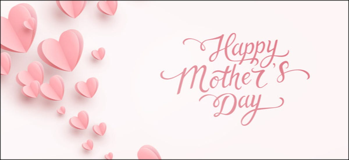 """""""Happy Mother's Day"""" surrounded by pink hearts."""