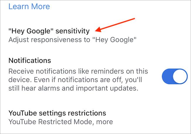 "Select ""'Hey Google' Sensitivity."""
