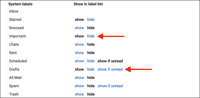 Hide system labels to clean up Gmail sidebar