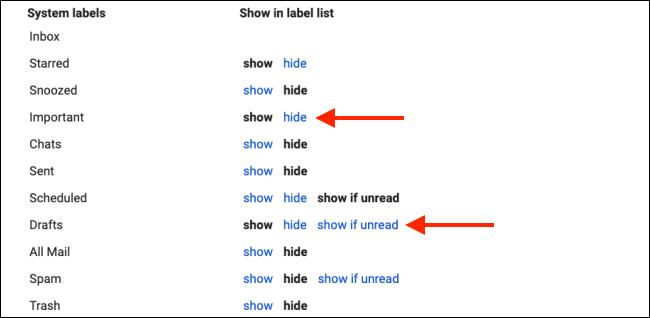 Ocultar etiquetas del sistema para limpiar la barra lateral de Gmail