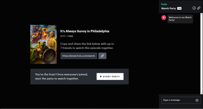 Hulu Watch Party Interface