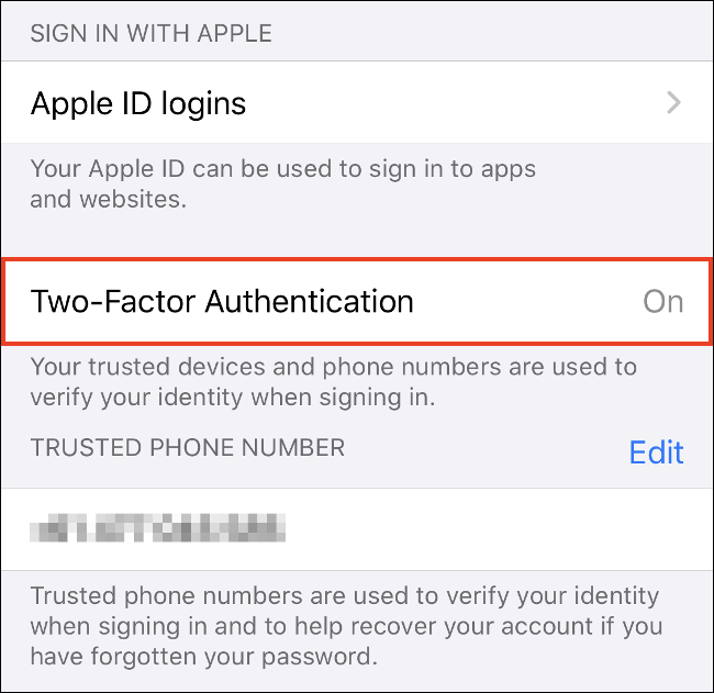"Tap ""Turn On Two-Factor Authentication"" on iPhone."
