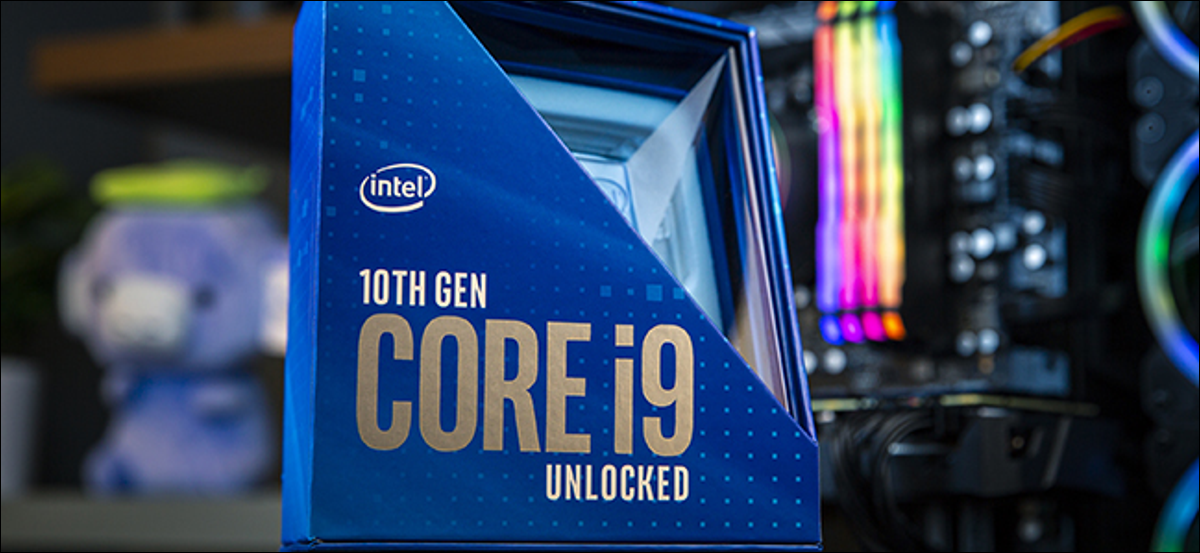 An Intel 10th generation Core i9 blue processor in its packaging.