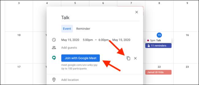 Join Google Meet from Google Calendar