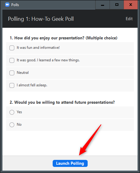 Launch Polling button