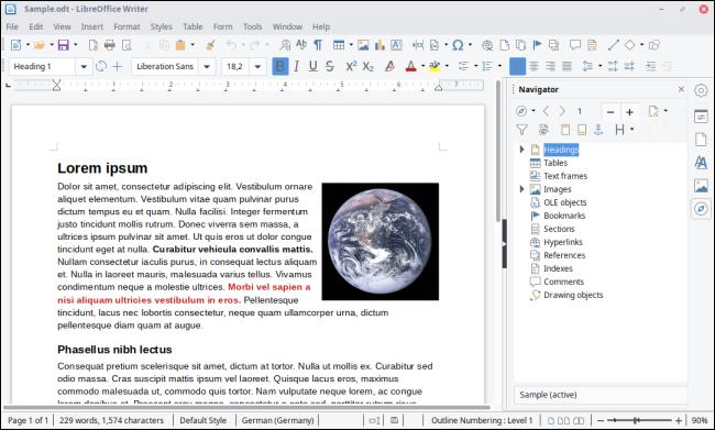 LibreOffice Writer Interface