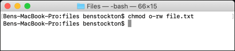Removing permissions from all other users using chmod at the macOS terminal