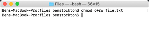 An alternative use of chmod at the macOS terminal