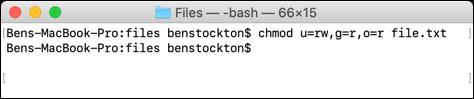 The chmod command used at the macOS terminal