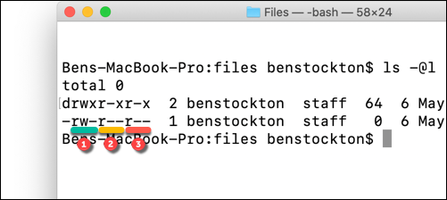Underlined file permissions using the ls command at the macOS terminal