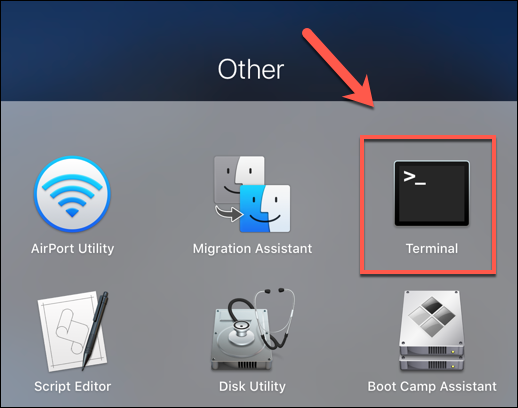 "Press the Launchpad icon on the Dock, then click the ""Terminal"" option in the ""Other"" folder to launch the Terminal app"
