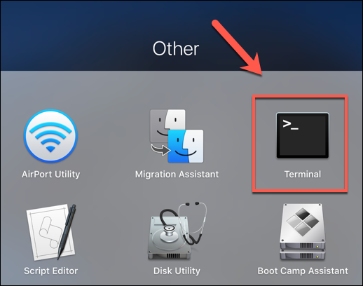 """Press the Launchpad icon on the Dock, then click the """"Terminal"""" option in the """"Other"""" folder to launch the Terminal app"""